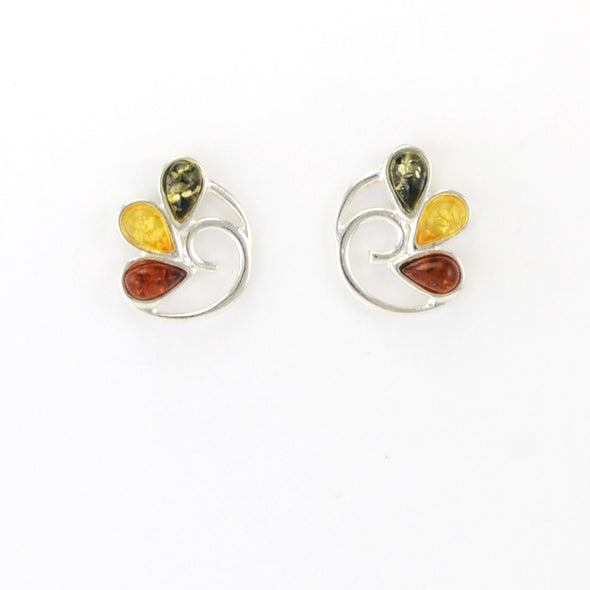 Sterling Silver Multicolor Amber Swirl Post Earrings