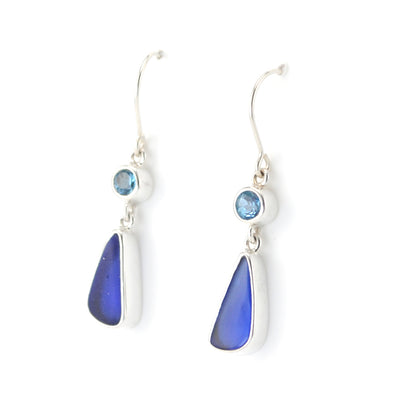Silver Blue Topaz Cobalt Sea Glass Earrings