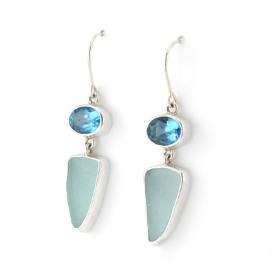 Side View Silver Blue Topaz Aqua Sea Glass Dangle Earrings
