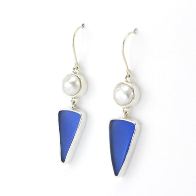 Side View Silver Pearl Cobalt Blue Sea Glass Dangle Earrings