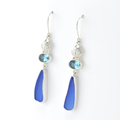 Silver Seashell Blue Topaz Sea Glass Earrings