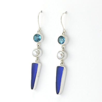 Silver Blue Topaz Pearl Sea Glass Earrings