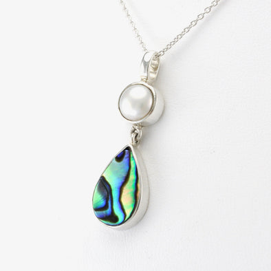 Side View Silver Pearl Abalone Necklace
