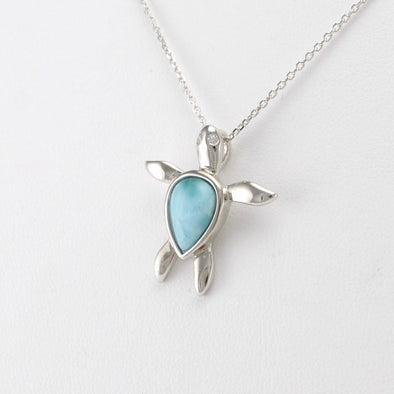Silver Larimar Small Sea Turtle Necklace