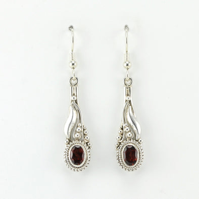 Alt View Silver Garnet Oval Dangle Earrings