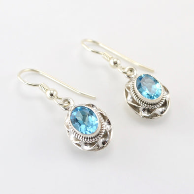 Silver Blue Topaz Oval Ribbon Twist Earrings