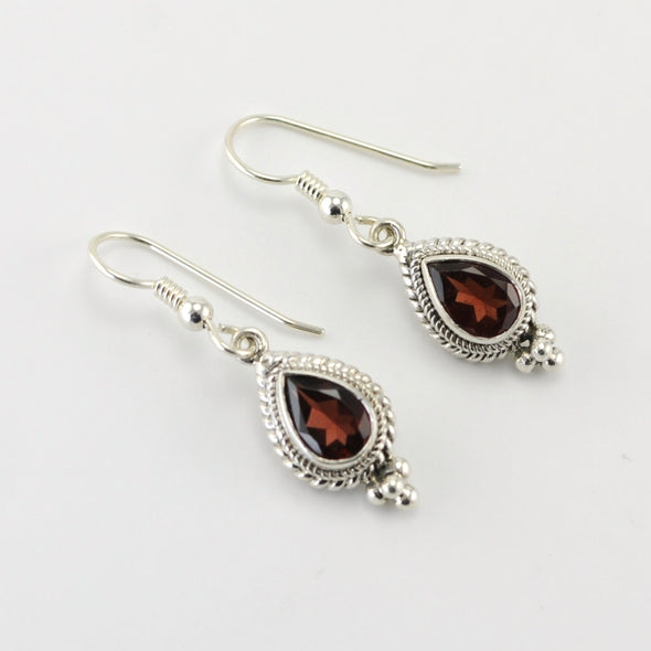 Silver Garnet 6x9mm Teardrop Dangle Earring