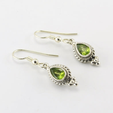Silver Peridot 5x7mm Teardrop Dangle Earrings