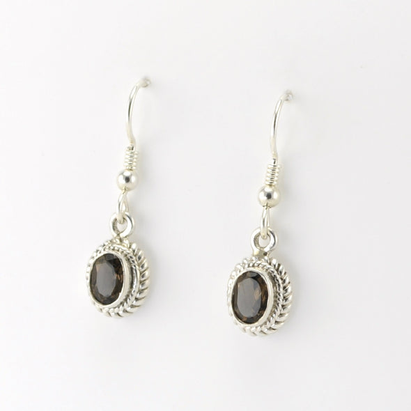 Silver Smoky Quartz 5x7mm Oval Dangle Earrings