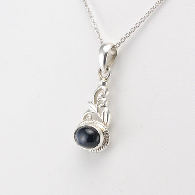 Silver Black Star Diopside Oval Scroll Pendant