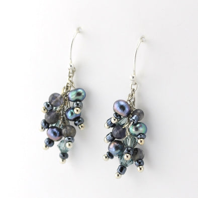 Sterling Silver Iolite Pearl and Crystal Earrings