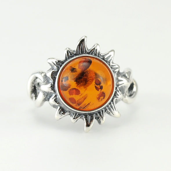 Silver Baltic Amber Sun Ring