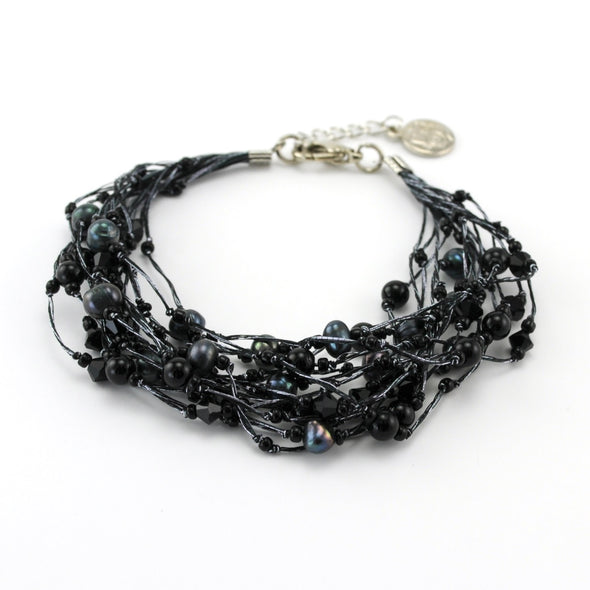 Japanese Silk Black Onyx Pearl and Crystal Bracelet