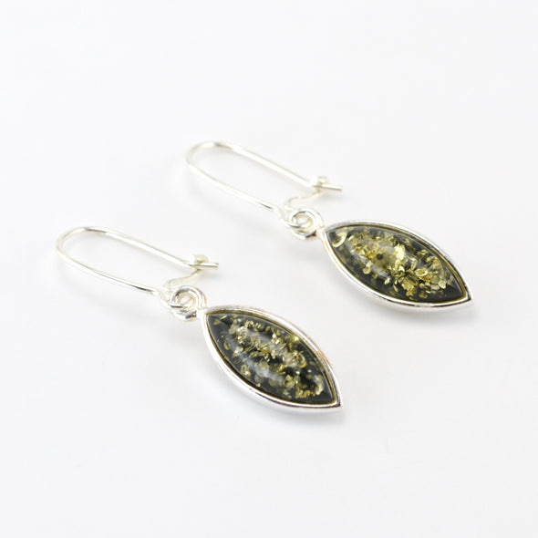Sterling Silver Baltic Green Amber Marquise Earrings