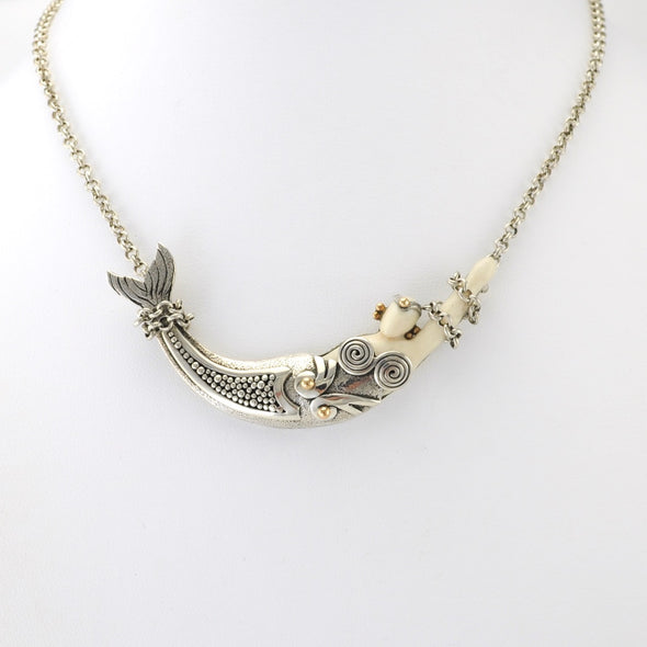 Sterling Silver Fossil Ivory All Tied Up Mermaid Necklace