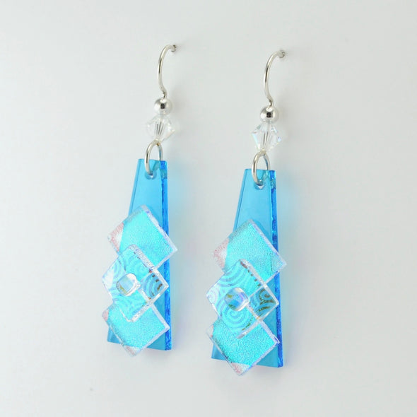 Turquoise Fused Glass 3 Squares on Elongated Rectangle Earrings