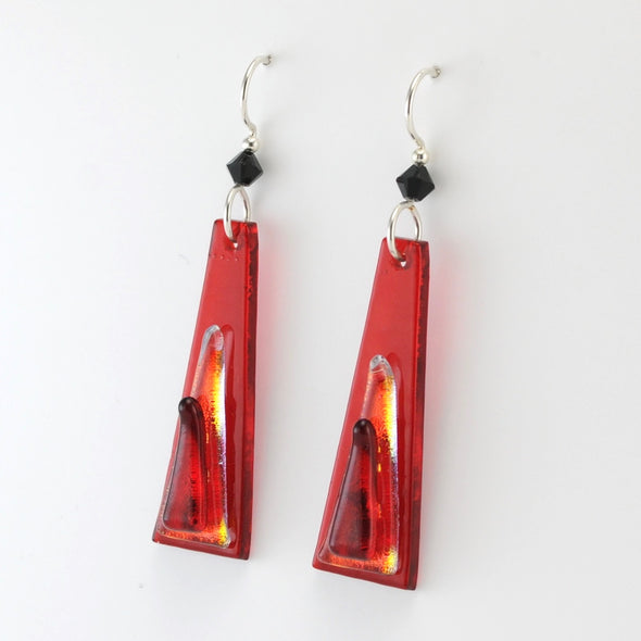 Dark Red Fused Glass Elongated Trapezoid Earrings