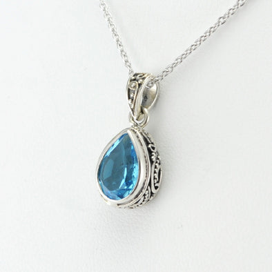 Silver Blue Topaz 7x10mm Tear Drop Bali Necklace