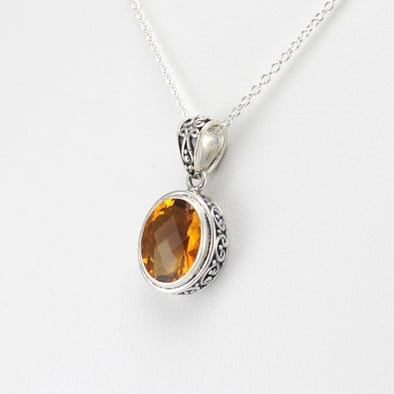 Sterling Silver Citrine Oval Bali Drop Necklace