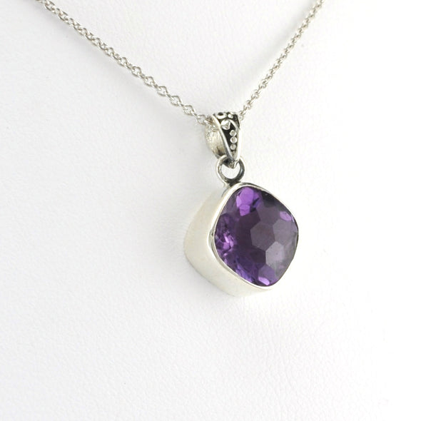 Silver Amethyst 10mm Square Necklace