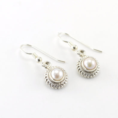 Silver Pearl 5mm Round Dangle Earrings