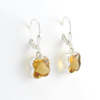 Silver Citrine Flower Cut Dangle Earrings