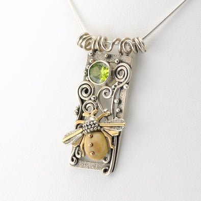 Silver Fossilized Ivory and Peridot Bee Free Pendant