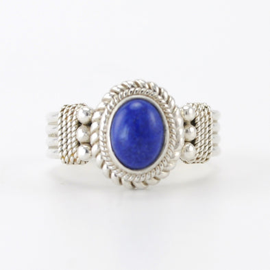 Silver Lapis 6x8mm Oval Ring
