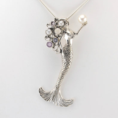 Alt View Silver Queen of Tides Mermaid Pendant