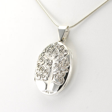 Silver Tree of Life Oval Locket Pendant