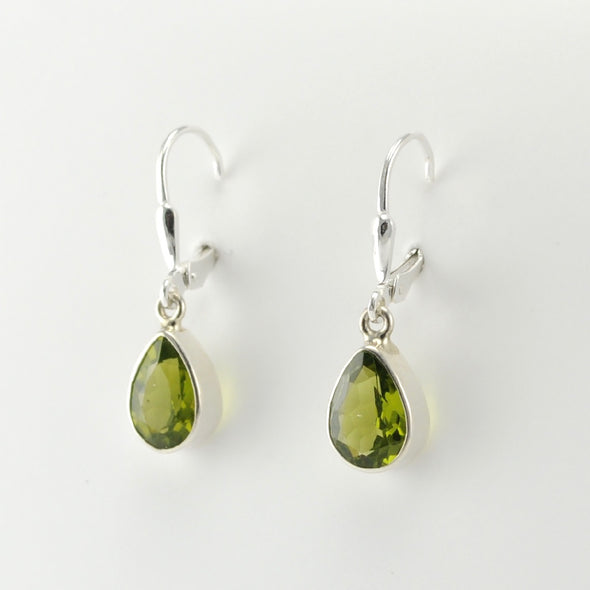 Silver Peridot Tear Dangle Earrings
