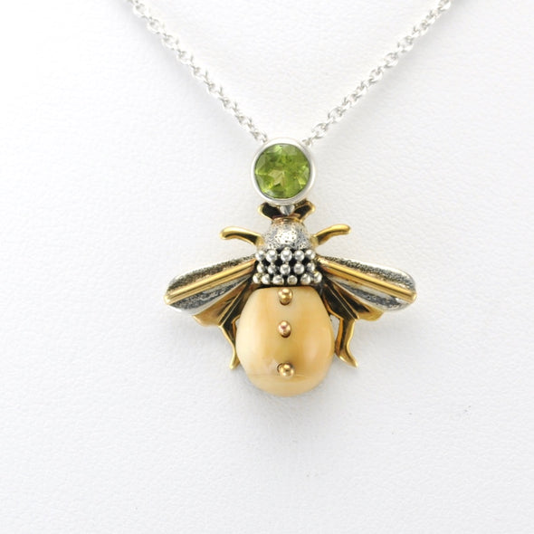 Alt View Silver Fossil Ivory Peridot Bee Necklace