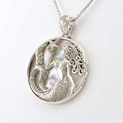 Silver Mermaid with Starfish Mother of Pearl Pendant
