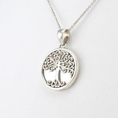 Silver Small Mother of Pearl Tree of Life Pendant