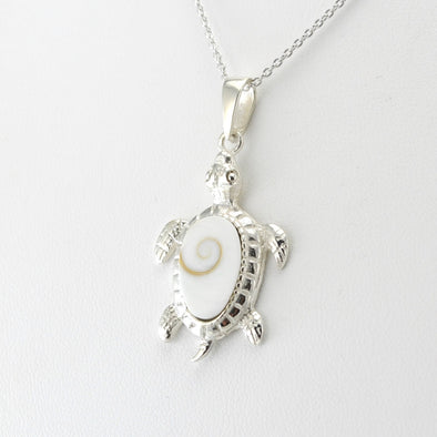 Silver Shiva Shell Turtle Necklace