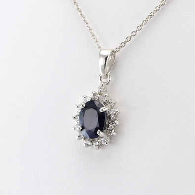 Silver Sapphire Cubic Zirconia Necklace