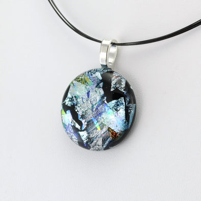 Silver Dichroic Glass Large Pendant