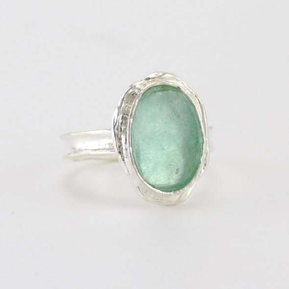 Silver Roman Glass Oval Ring Size 6