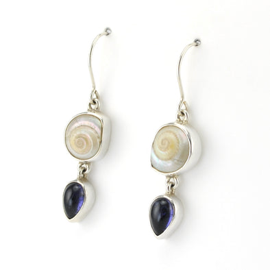 Side View Silver Malabar Shell Iolite Earrings