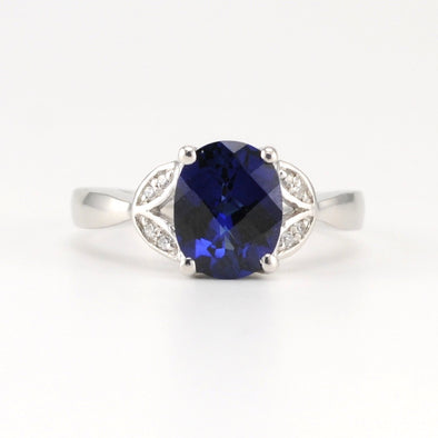 Silver Created Sapphire 2.6ct CZ Ring