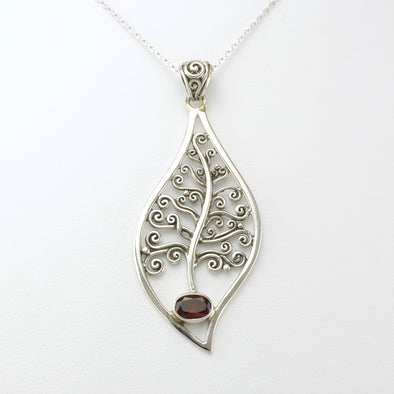 Silver Garnet Tree of Life Necklace
