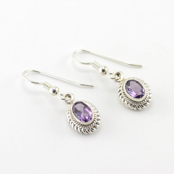 Silver Amethyst 5x7mm Oval Dangle Earrings