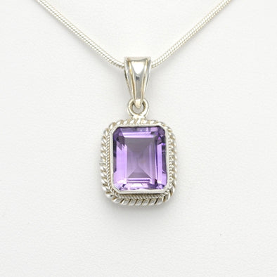 Silver Amethyst 10x12mm Rectangle Pendant
