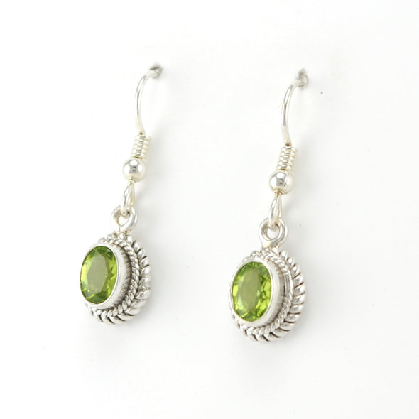Silver Peridot 5x7mm Oval Dangle Earrings