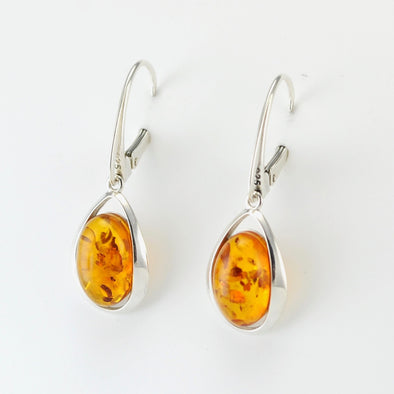 Silver Baltic Amber Oval Lever Back Earrings