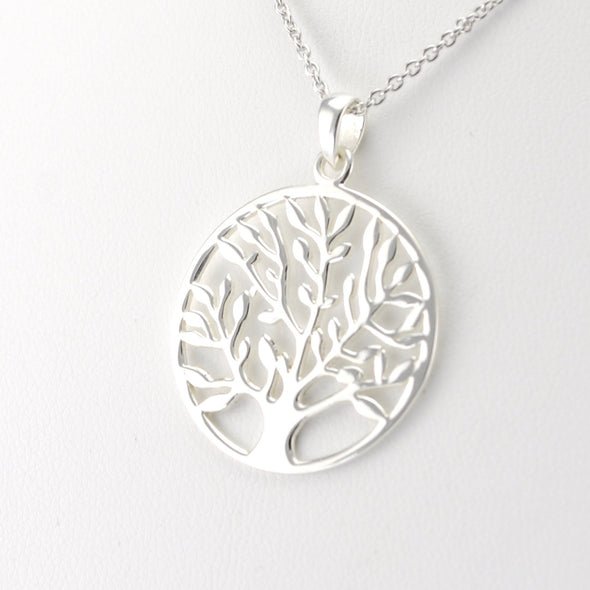 SIde View Silver Tree with Leaves Necklace