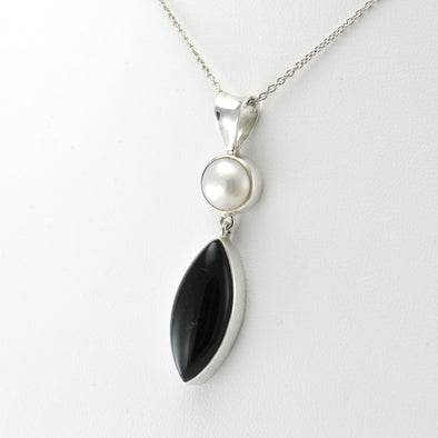 Silver Pearl Black Onyx Necklace
