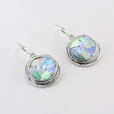 Silver Roman Glass Round Dangle Earrings