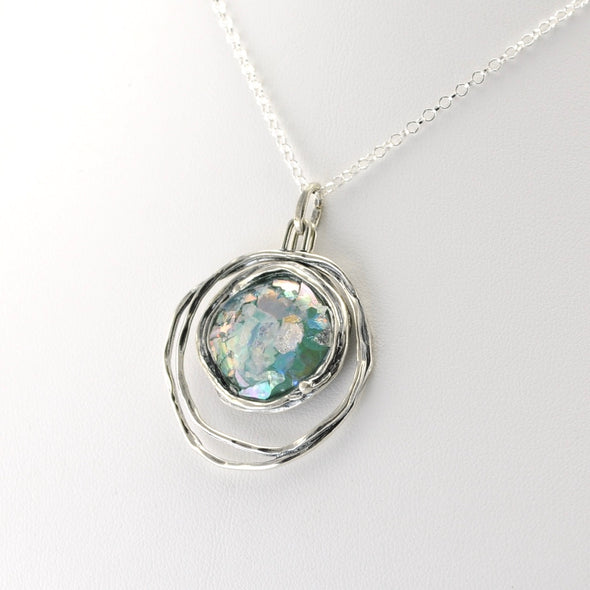 Silver Ancient Roman Glass Double Circle Necklace