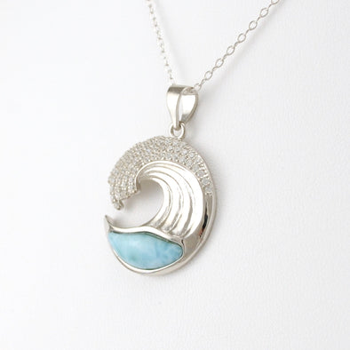 Silver Larimar Ocean Wave CZ Necklace